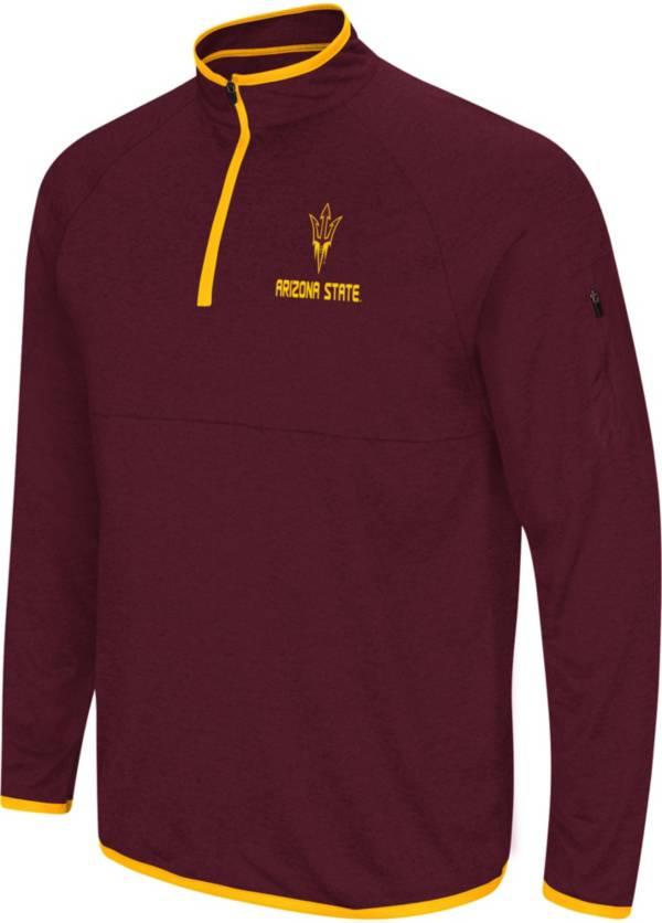 Colosseum Men's Arizona State Sun Devils Maroon Rival Quarter-Zip Shirt product image
