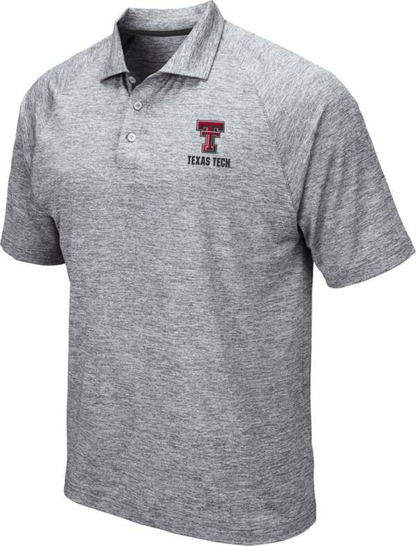 Colosseum Men's Texas Tech Red Raiders Grey Wedge Polo product image