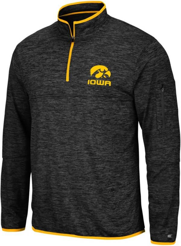 Colosseum Men's Iowa Hawkeyes Slub Quarter-Zip Black Shirt product image