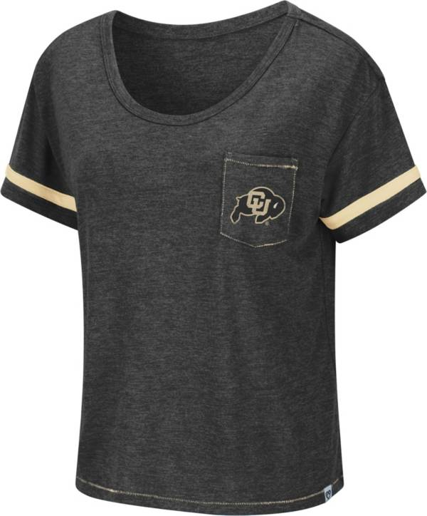 Colosseum Women's Colorado Buffaloes Waffles Meet & Greet Black T-Shirt product image
