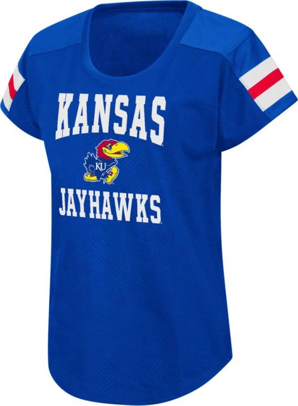 Colosseum Women's Kansas Jayhawks Blue Football Dolman T-Shirt product image