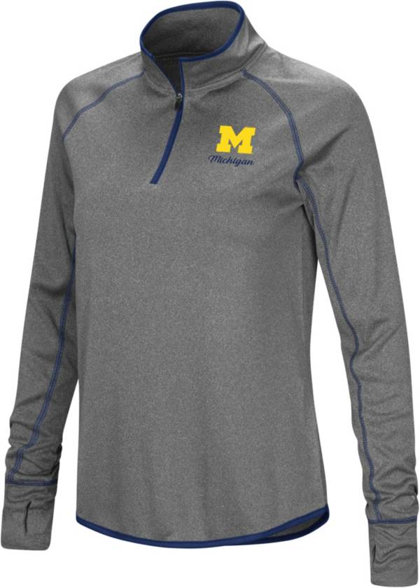 Colosseum Women's Michigan Wolverines Charcoal Stingray Quarter-Zip Shirt product image