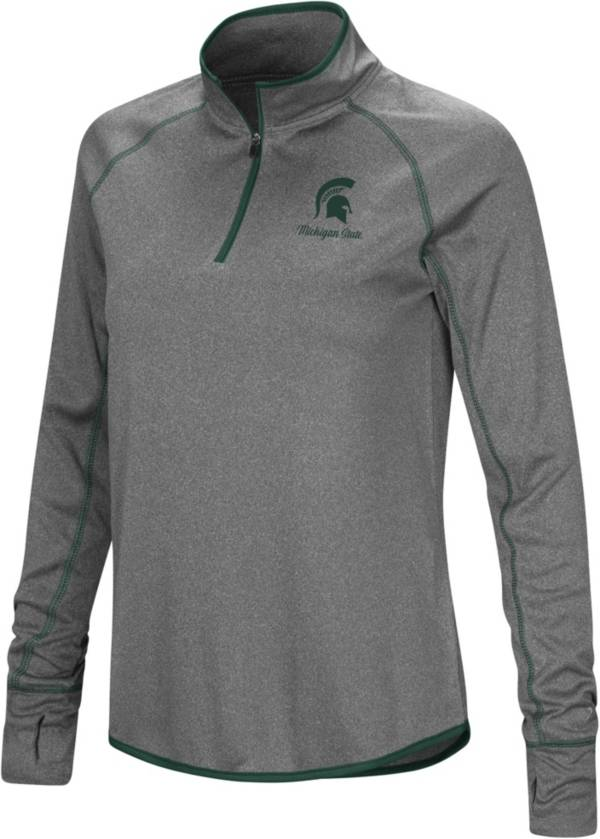 Colosseum Women's Michigan State Spartans Charcoal Stingray Quarter-Zip Shirt product image