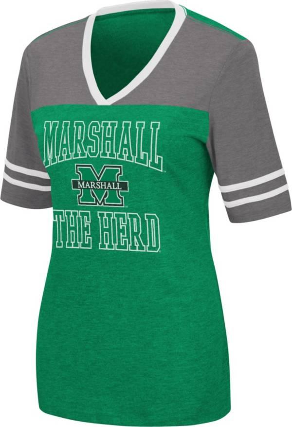 Colosseum Women's Marshall Thundering Herd Green Cuba Libre V-Neck T-Shirt product image