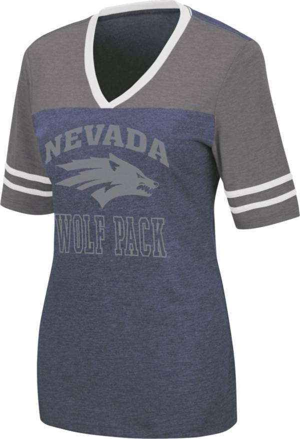 Colosseum Women's Nevada Wolf Pack Blue Cuba Libre V-Neck T-Shirt product image