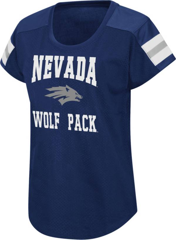 Colosseum Women's Nevada Wolf Pack Blue Football Dolman T-Shirt product image