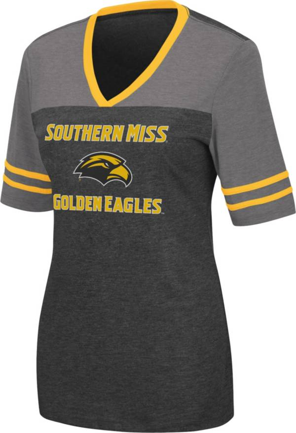 Colosseum Women's Southern Miss Golden Eagles Cuba Libre V-Neck Black T-Shirt product image