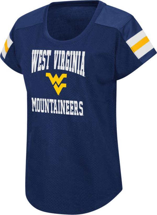 Colosseum Women's West Virginia Mountaineers Blue Football Dolman T-Shirt product image