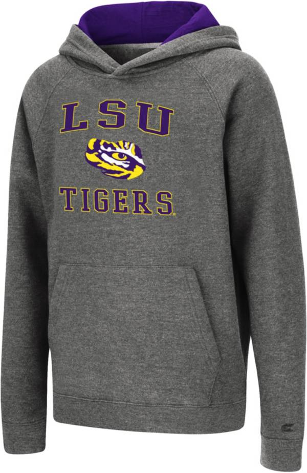 Colosseum Youth LSU Tigers Heather Grey Pullover Hoodie product image