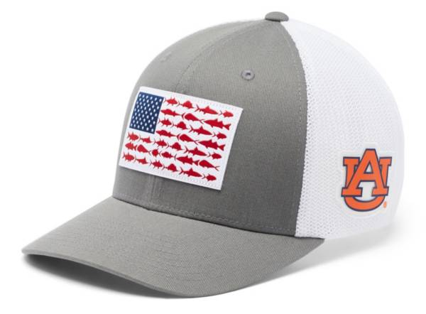 Columbia Men's Auburn Tigers Grey PFG Fish Flag Mesh Fitted Hat product image