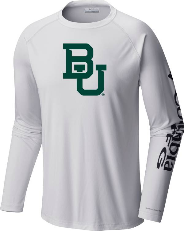 Columbia Men's Baylor Bears Terminal Tackle Long Sleeve White T-Shirt product image