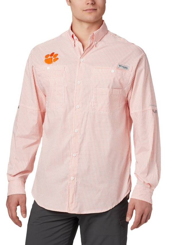 Columbia Men's Clemson Tigers Orange Gingham Tamiami Long Sleeve Shirt product image