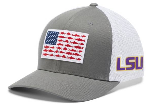 Columbia Men's LSU Tigers Grey PFG Fish Flag Mesh Fitted Hat product image