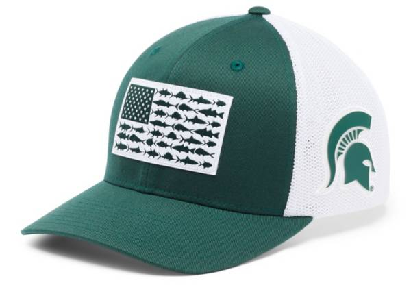 Columbia Men's Michigan State Spartans Green PFG Fish Flag Mesh Fitted Hat product image