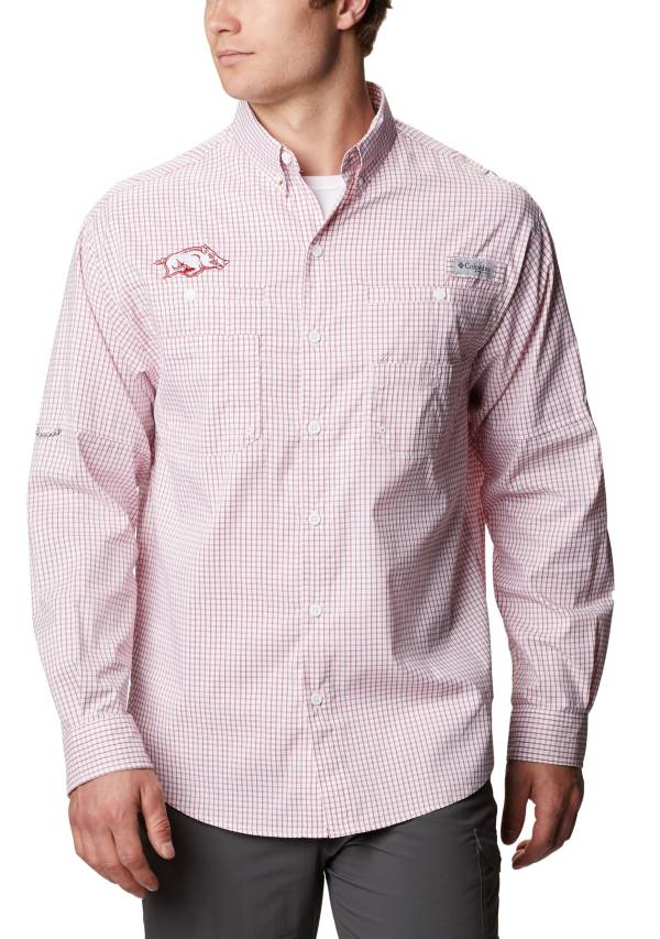 Columbia Men's Arkansas Razorbacks Cardinal Gingham Long Sleeve Tamiami Shirt product image