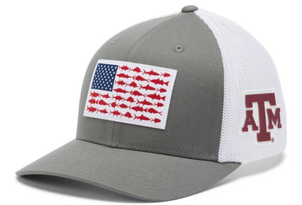 Columbia Men's Texas A&M Aggies Grey PFG Fish Flag Mesh Fitted Hat product image