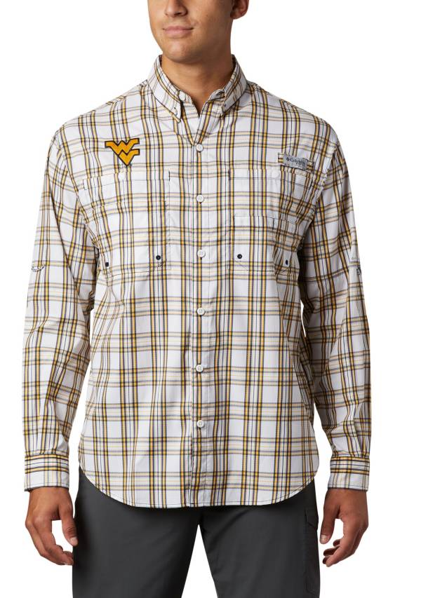 Columbia Men's West Virginia Mountaineers Blue Long Sleeve Tamiami Shirt product image