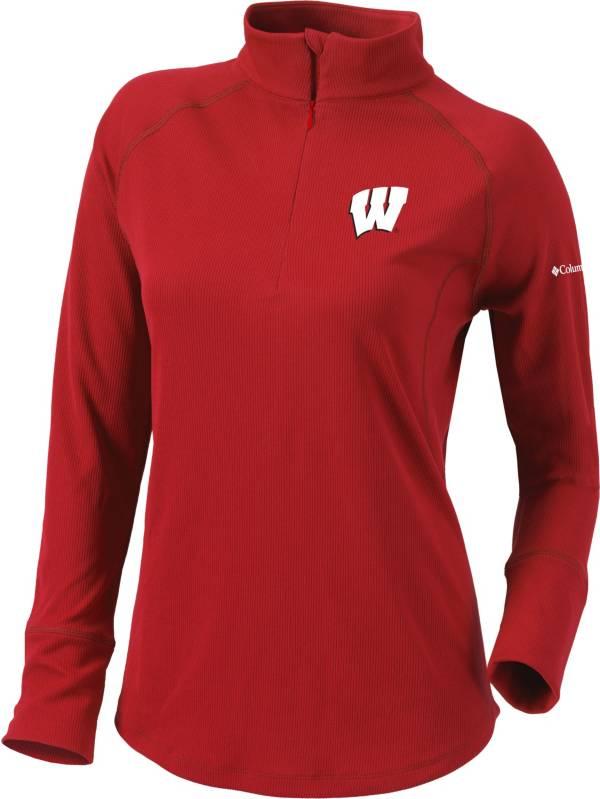 Columbia Women's Wisconsin Badgers Red Flop Shot Half-Zip Pullover Shirt product image