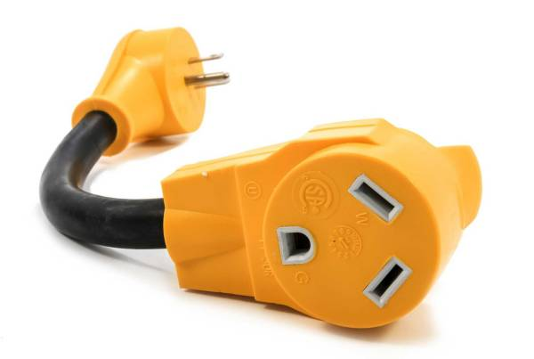 """Camco RV PowerGrip 12"""" 15AM / 30AF Dogbone Electrical Adapter product image"""