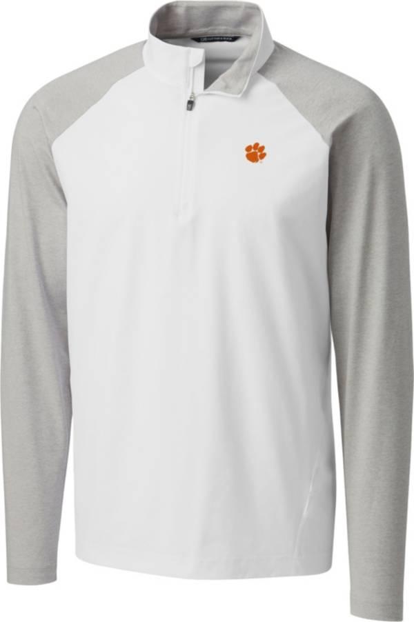Cutter & Buck Men's Clemson Tigers Response Half-Zip White Shirt product image