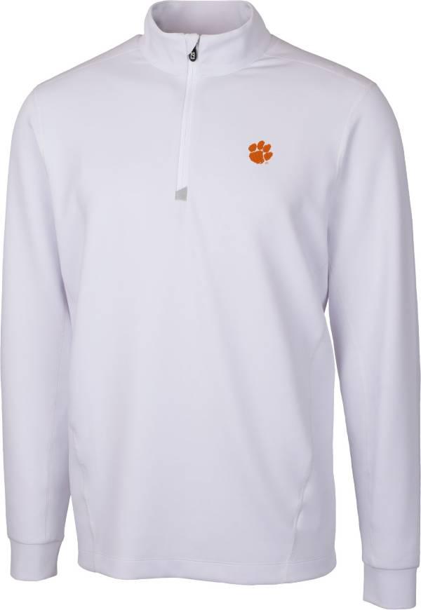 Cutter & Buck Men's Clemson Tigers White Traverse Half-Zip Shirt product image
