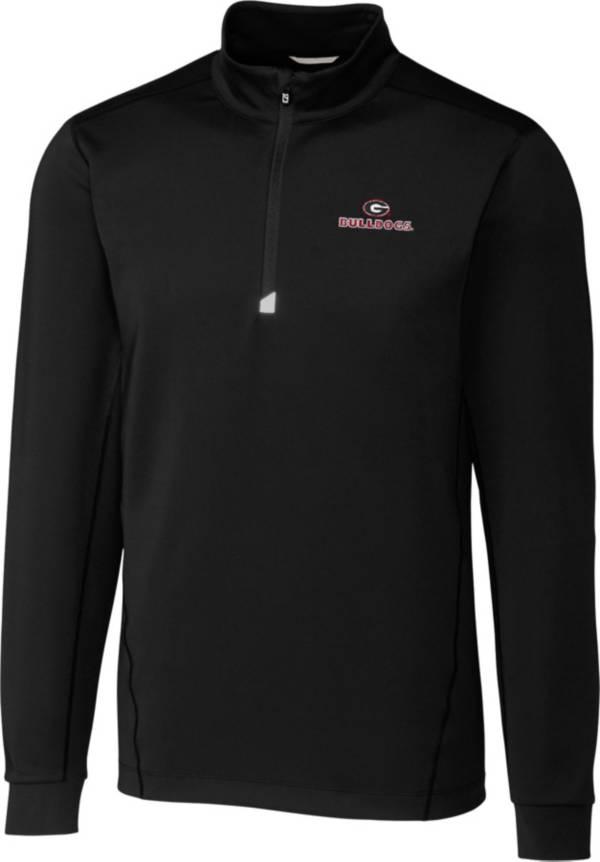 Cutter & Buck Men's Georgia Bulldogs Traverse Half-Zip Black Shirt product image