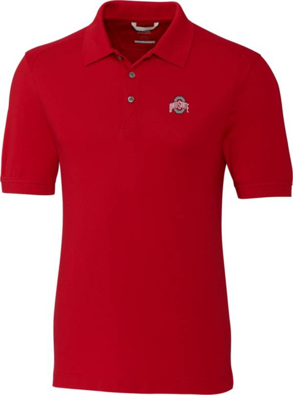 Cutter & Buck Men's Ohio State Buckeyes Scarlet Advantage Long Sleeve Polo product image