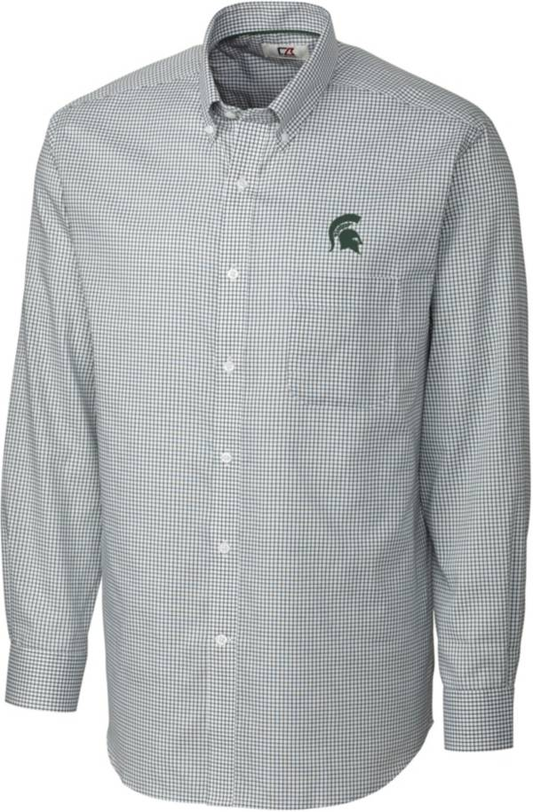 Cutter & Buck Men's Michigan State Spartans Green Epic Long Sleeve Button-Down Shirt product image
