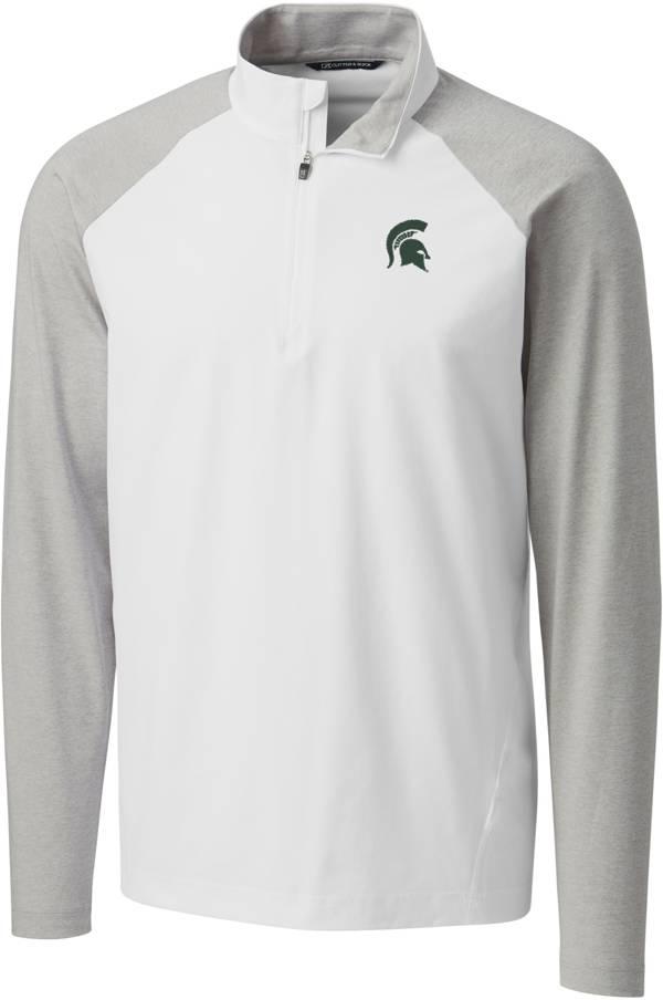 Cutter & Buck Men's Michigan State Spartans Response Half-Zip White Shirt product image