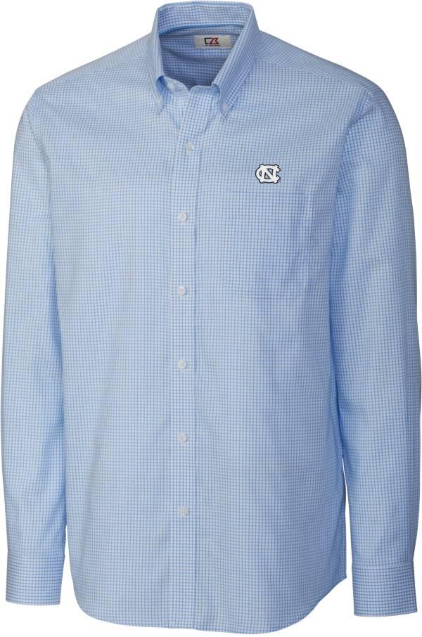 Cutter & Buck Men's North Carolina Tar Heels Epic Long Sleeve Button-Down White Shirt product image