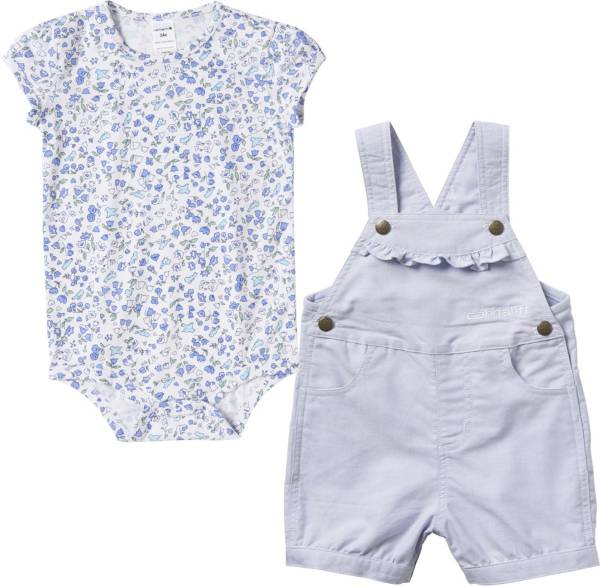 Carhartt Infant Girls' Printed Chambrey Onesie and Shortall Set product image