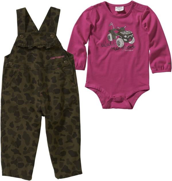 Carhartt Infant Girls' Long Sleeve Bodyshirt & Camo Overalls Set product image