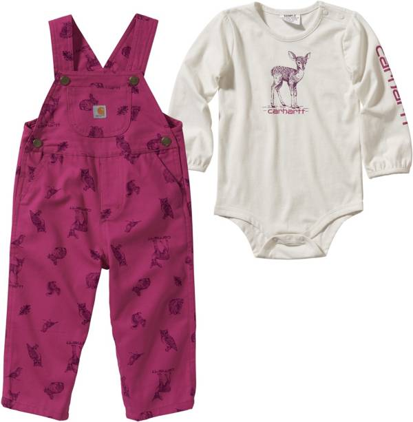 Carhartt Infant Girls' Bodyshirt and Printed Canvas Overalls Set product image