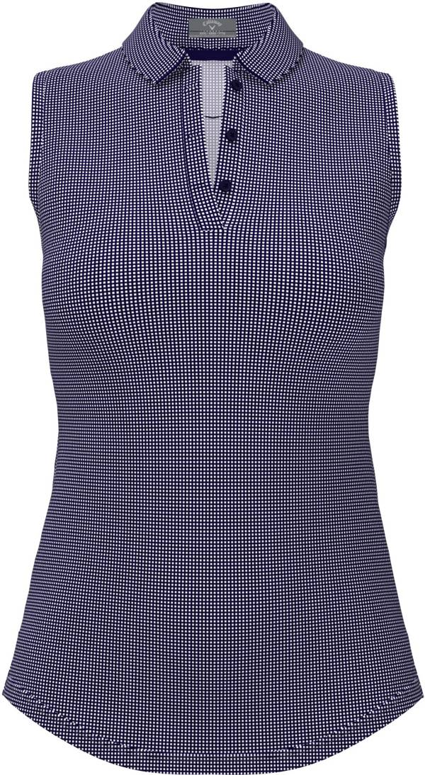 Callaway Women's Printed Gingham Sleeveless Golf Polo Shirt product image