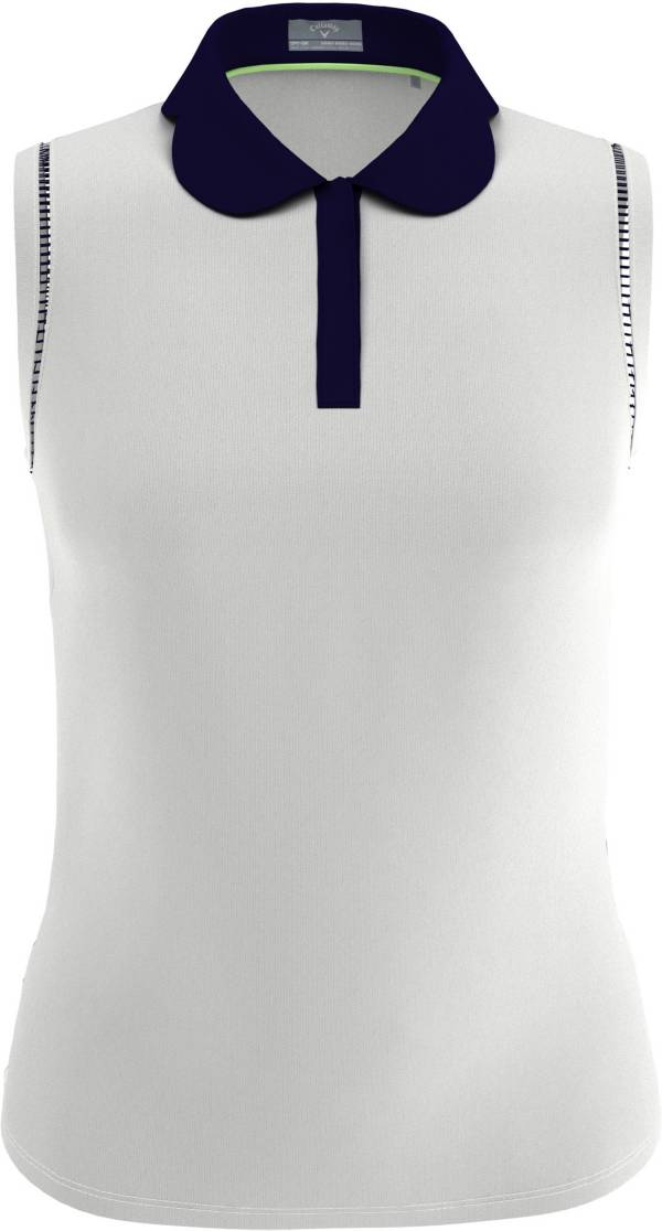 Callaway Women's Contrast Scallop Sleeveless Golf Polo Shirt product image