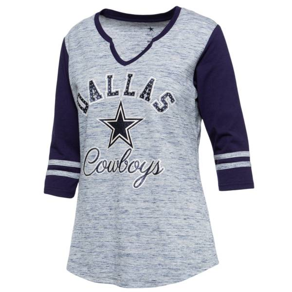 Dallas Cowboys Merchandising Women's Rhinestone Color Block Grey/Navy Three-Quarter Sleeve Shirt product image