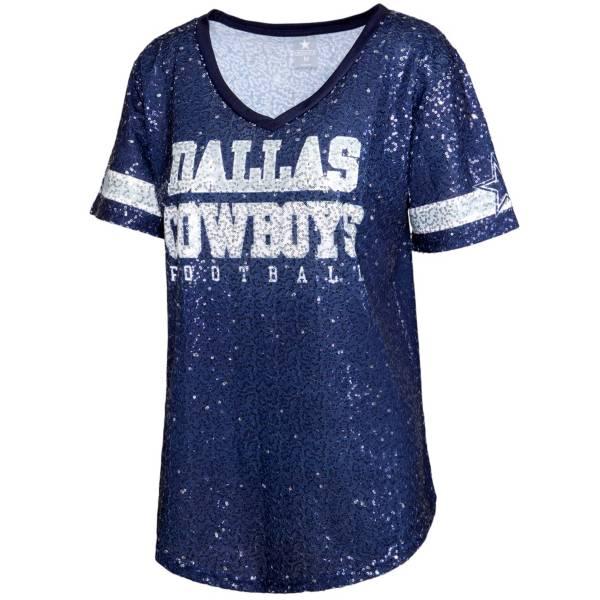 Dallas Cowboys Merchandising Women's Allover Sequin Navy V-Neck T-Shirt product image