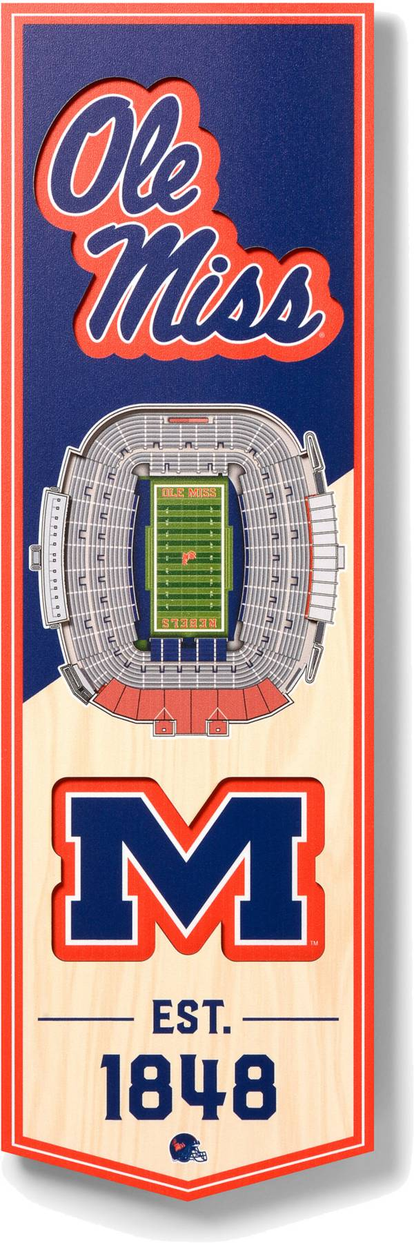 """You The Fan Ole Miss Rebels 6""""x19"""" 3-D Banner product image"""