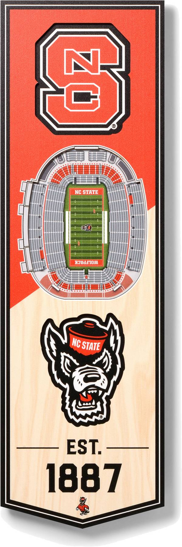 """You The Fan NC State Wolfpack 6""""x19"""" 3-D Banner product image"""
