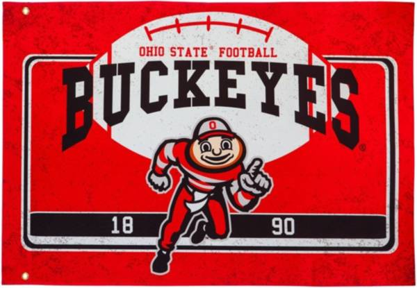 Evergreen Ohio State Buckeyes Linen Estate Flag product image