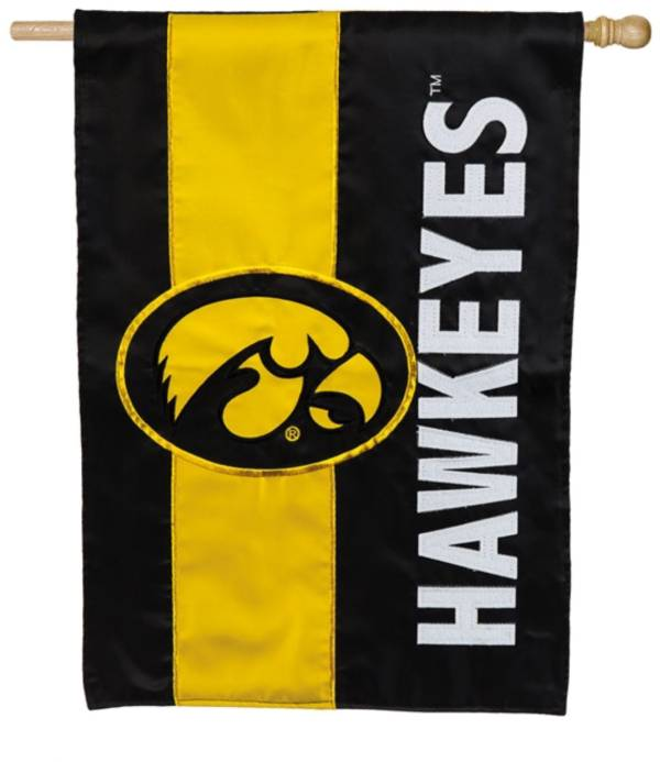 Evergreen Iowa Hawkeyes Embellish House Flag product image