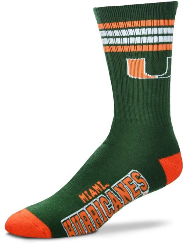 For Bare Feet Miami Hurricanes 4-Stripe Deuce Crew Socks product image