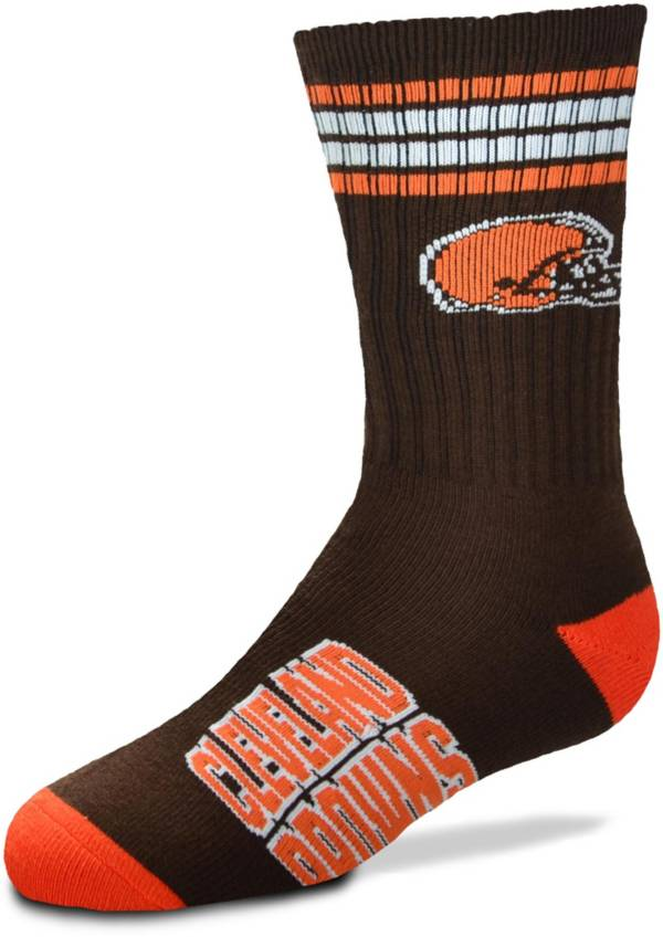 For Bare Feet Youth Cleveland Browns 4-Stripe Deuce Crew Socks product image