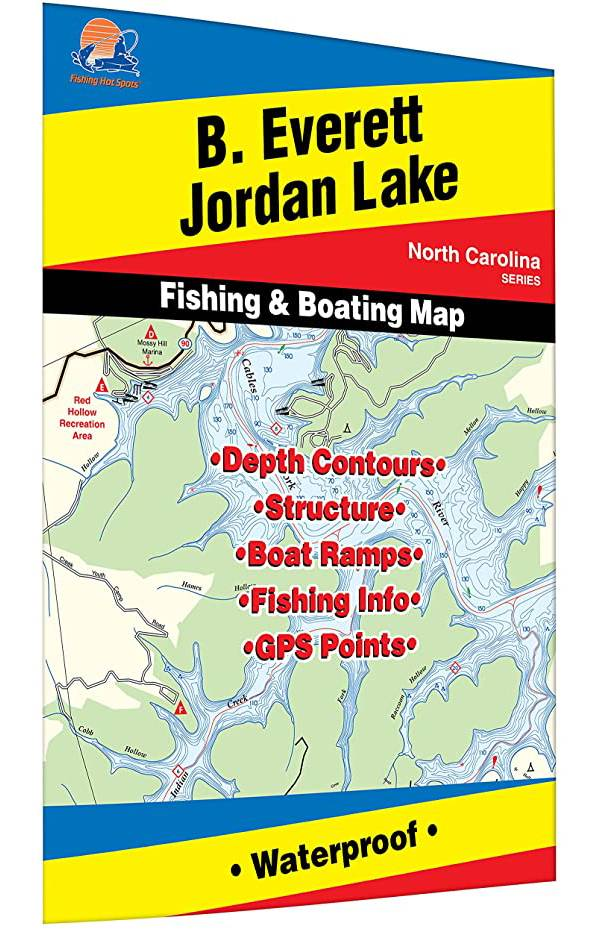 Fishing Hot Spots B. Everett Jordon Lake Fishing Map product image