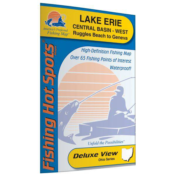 Fishing Hot Spots Lake Erie - Central Basin West Fishing Map (Ruggles Beach to Geneva, Ohio) product image