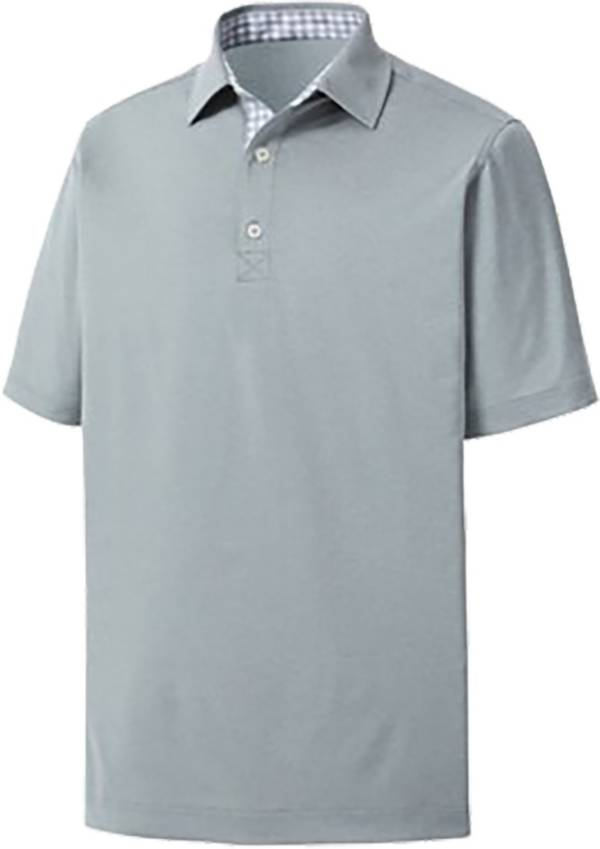 FootJoy Men's Solid Lisle Gingham Trimmed Golf Polo product image