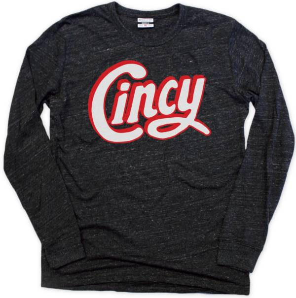 Where I'm From Men's Cincy Black Heathered Tri-Blend Long Sleeve T-Shirt product image