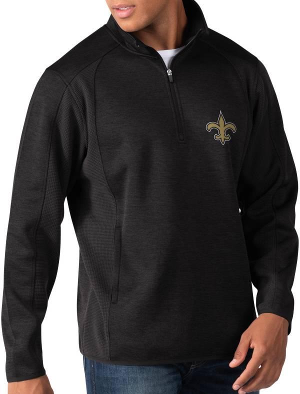 G-III Men's New Orleans Saints Peacemaker Black Quarter-Zip Pullover product image