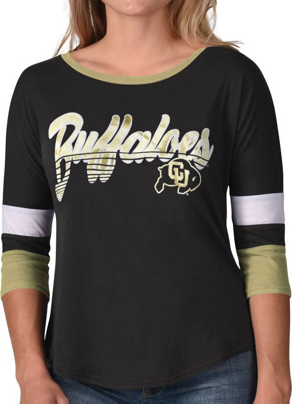 G-III For Her Women's Colorado Buffaloes Prospect ¾ Sleeve T-Black Shirt product image