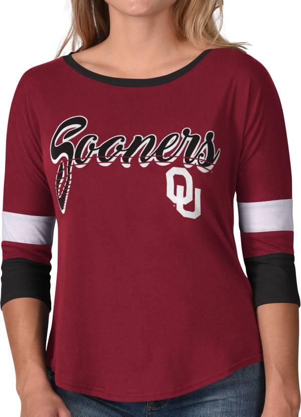 G-III For Her Women's Oklahoma Sooners Crimson Prospect ¾ Sleeve T-Shirt product image